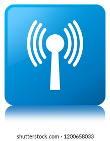 Wlan network icon isolated on cyan blue square button reflected abstract illustration