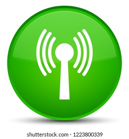 Wlan network icon isolated on special green round button abstract illustration