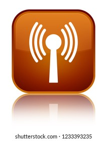 Wlan network icon isolated on special brown square button reflected abstract illustration