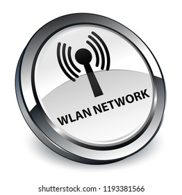 Wlan network isolated on 3d white round button abstract illustration