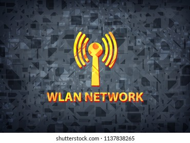 Wlan network isolated on black background abstract illustration