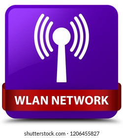 Wlan network isolated on purple square button with red ribbon in middle abstract illustration