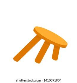 wobbly three legged stool. Clipart image isolated on white background