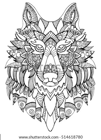 Royalty Free Stock Illustration Of Wolf Coloring Book Adults Raster