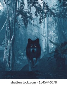 Wolf in the dark forest,3d illustration