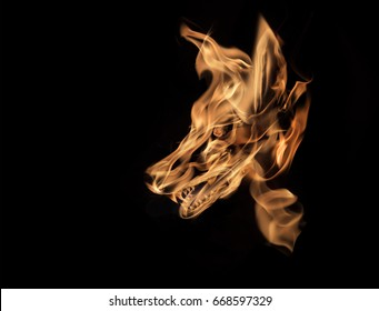 wolf drawing with fire effect structure on background
