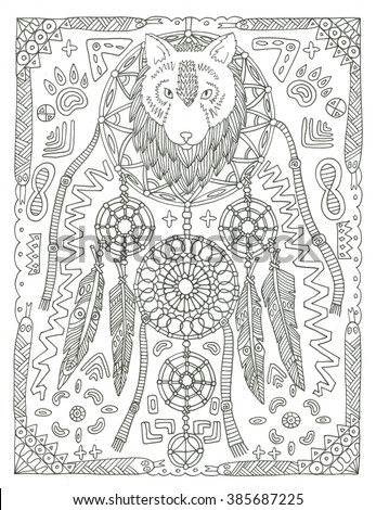 Wolf Dream Catcher Coloring Page Stockillustration 385687225