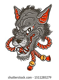 Wolf head with red ropes in japanese style