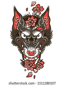 Wolf head with sakura flowes