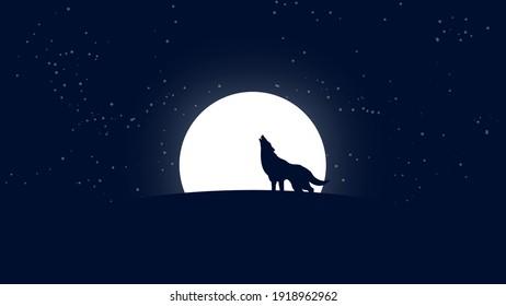 wolf Howl at night moon