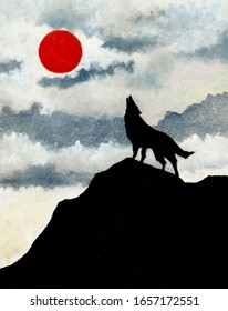Wolf Howling At Red Moon