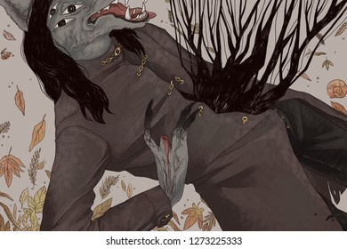 Wolf monster, fallen leaves on the background