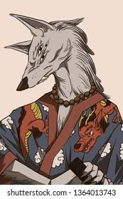 Wolf samurai with katana