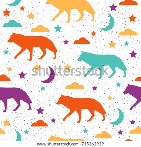 Wolf Seamless Pattern Background Abstract Purple Stock Illustration