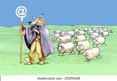 a wolf in shepherd has a stick with the symbol of internet and is followed by sheep