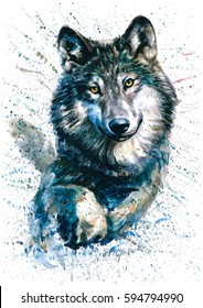 Wolf watercolor animals predator wildlife