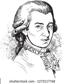 Wolfgang Amadeus Mozart (1756-1791) portrait in line art illustration. He was prolific and influential composer of the classical music era.