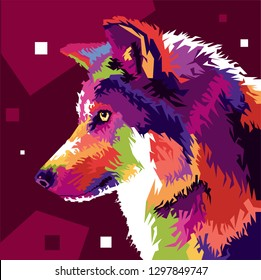 wolfs head in popart style. it can use for background or your walpaper