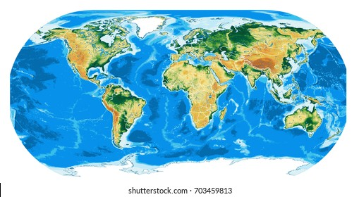 Wolrd physical map. Eckert III projection. Elements of this image furnished by NASA.