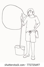 Woma cleaning the floor with mop and mop bucket.  housemaid washing floors with a mop. Black and white drawing.