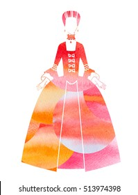 Woman  in 18th century dress red and orange watercolor silhouette.