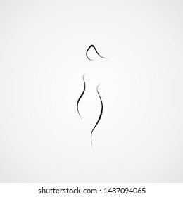 woman abstract shape icon line illustration