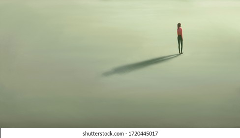 Woman alone with the light. Surreal painting hope lonely and loneliness concept. minimal illustration, conceptual art, lonely artwork