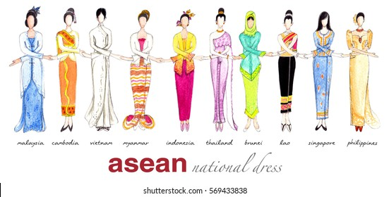 Woman of ASEAN member states with national dress holding hand.