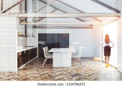 Woman in an attic kitchen interior with white walls, a wooden floor, panoramic windows and dark wooden countertops. 3d rendering mock up toned image double exposure