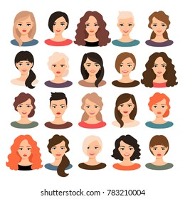 Woman avatar set illustration. Beautiful young girls portrait with different hair style isolated on white background
