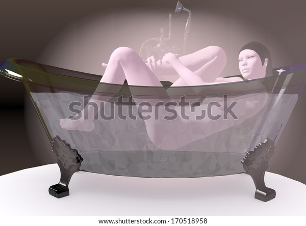 woman bathing in a transparent bathtub, brown colors, 3D illustration, raster illustration