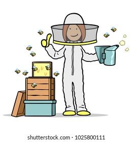 Woman as a beekeeper in beekeeping with bees and honeycomb holds her thumbs up