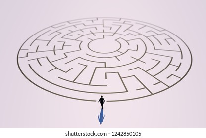 Woman before the door of a labyrinth or maze. The difficulty for women to have the same social and labor benefits as men. Criticism of gender inequality. 3D Rendering.