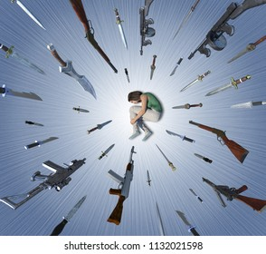 A woman is being attacked by falling knives and guns - illustrating self hatred in depression - 3D render.