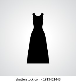 Woman black dress raster icon isolated on white background. Simple gown symbol