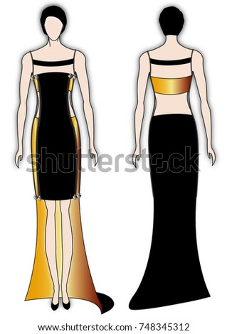 Woman Black Gold Color Evening Gown Stock Illustration 748345312