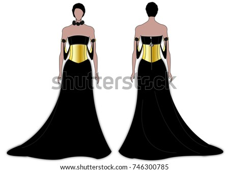 Woman Black Gold Evening Gown Stock Illustration 746300785