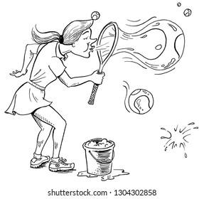 woman blows soap bubbles shaped like tennis balls