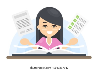 Woman with book studying and getting knowledge.