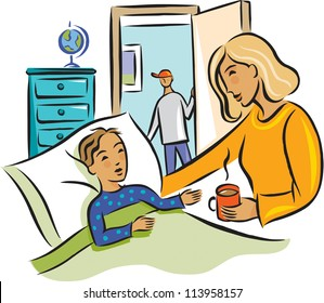 A woman brings a hot drink to a boy in bed, while another boy stands at the door