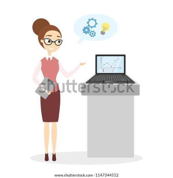 Woman at business presentation with laptop on white.