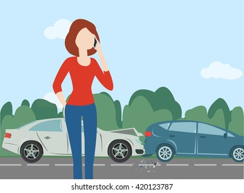 Woman calling after car crash in the forest road, route. Minimal flat illustration for web or print. Country landscape. Nature