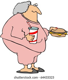 Woman With A Cheeseburger And Soda