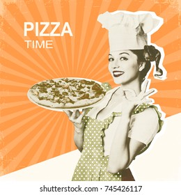 Woman chef and pizza.Retro poster on old paper background with text