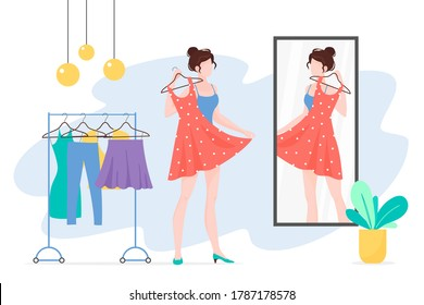 Woman choosing clothes flat illustration. Girl with dress looking at mirror cartoon character. Fashionista lady with stylish outfit. Wardrobe, apparel, garment. Clothing rack