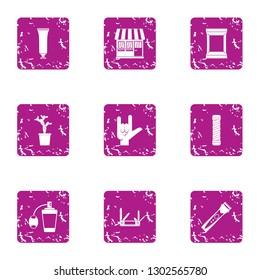 Woman circumstance icons set. Grunge set of 9 woman circumstance icons for web isolated on white background