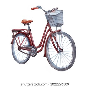Woman city bicycle. Watercolor illustration isolated on white background.