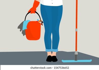 Woman cleaning floor concept design