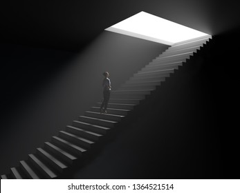 woman climbs the stairs from darkness to light, 3d illustration