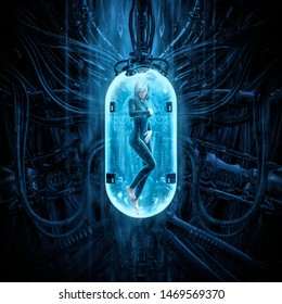 The woman clone pod / 3D illustration of science fiction scene showing human female figure in inside complex futuristic alien incubator cloning machinery